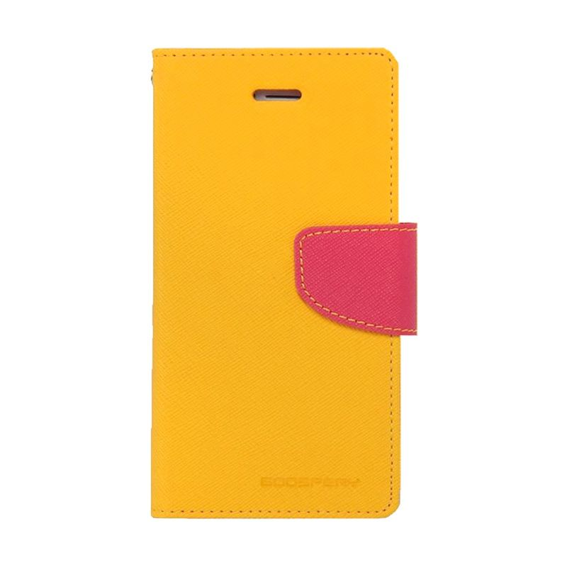 Mercury Goospery Fancy Diary Yellow Hot Pink Casing for Samsung Galaxy E7