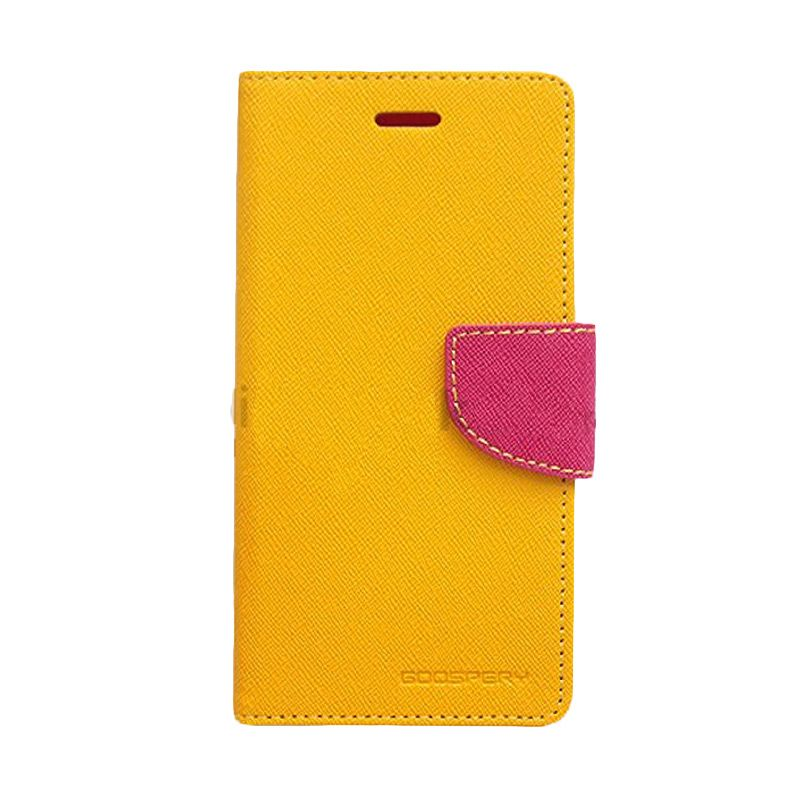 Mercury Goospery Fancy Diary Yellow Hot Pink Flip Cover Casing for Galaxy Core 2