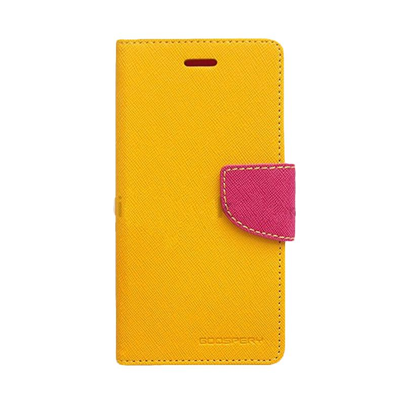 Mercury Goospery Fancy Diary Yellow Hot Pink Flip Cover Casing for Galaxy Core Prime