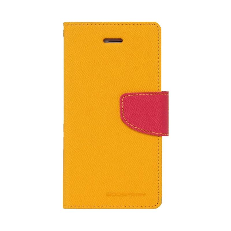Mercury Goospery Fancy Diary Yellow Hot Pink Flip Cover Casing for Galaxy E3