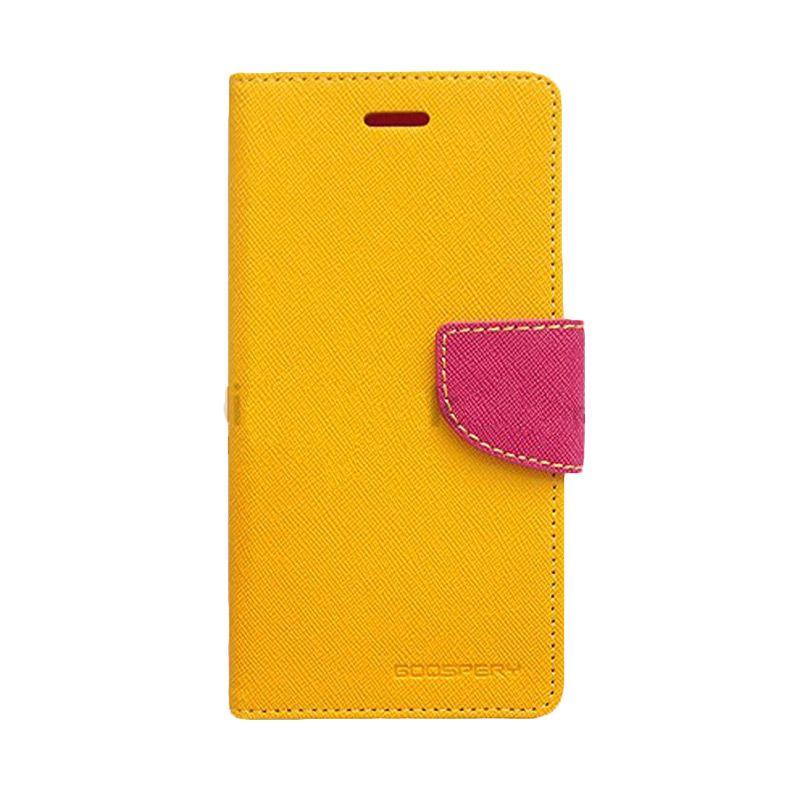 Mercury Goospery Fancy Diary Yellow Hot Pink Flip Cover Casing for Xiaomi Note 2