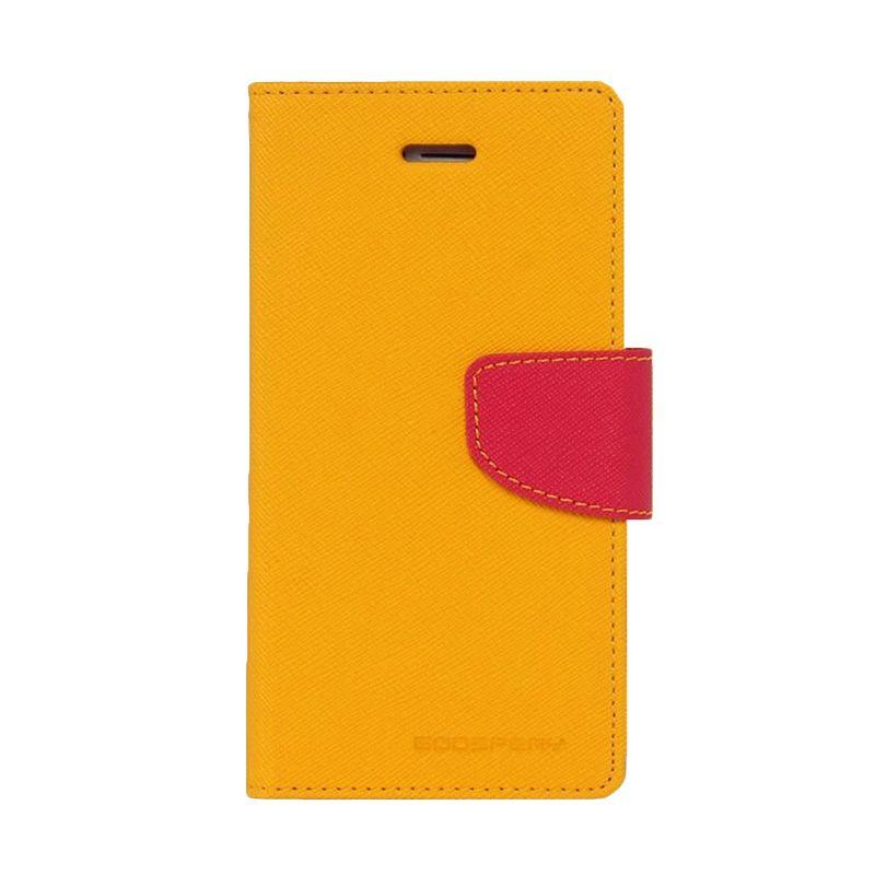 Mercury Goospery Fancy Diary Yellow Hotpink Casing for Galaxy Core 2