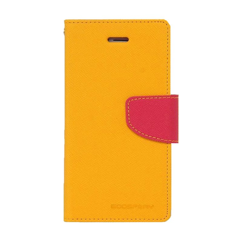 Mercury Goospery Fancy Diary Yellow Hotpink Casing for Galaxy Mega 6.3