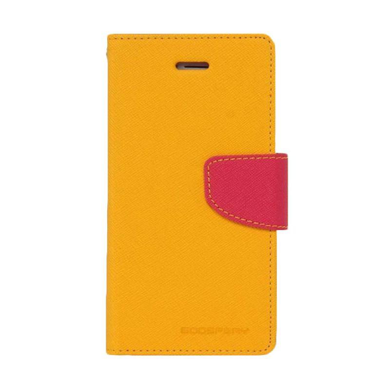 Mercury Goospery Fancy Diary Yellow Hotpink Casing for Galaxy S4 mini