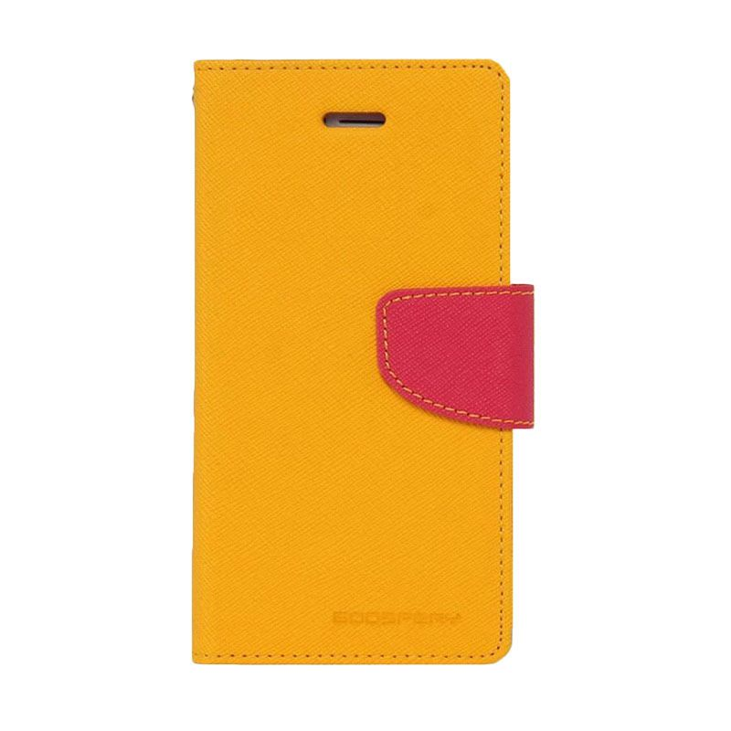 Mercury Goospery Fancy Diary Yellow Hotpink Casing for Galaxy S5