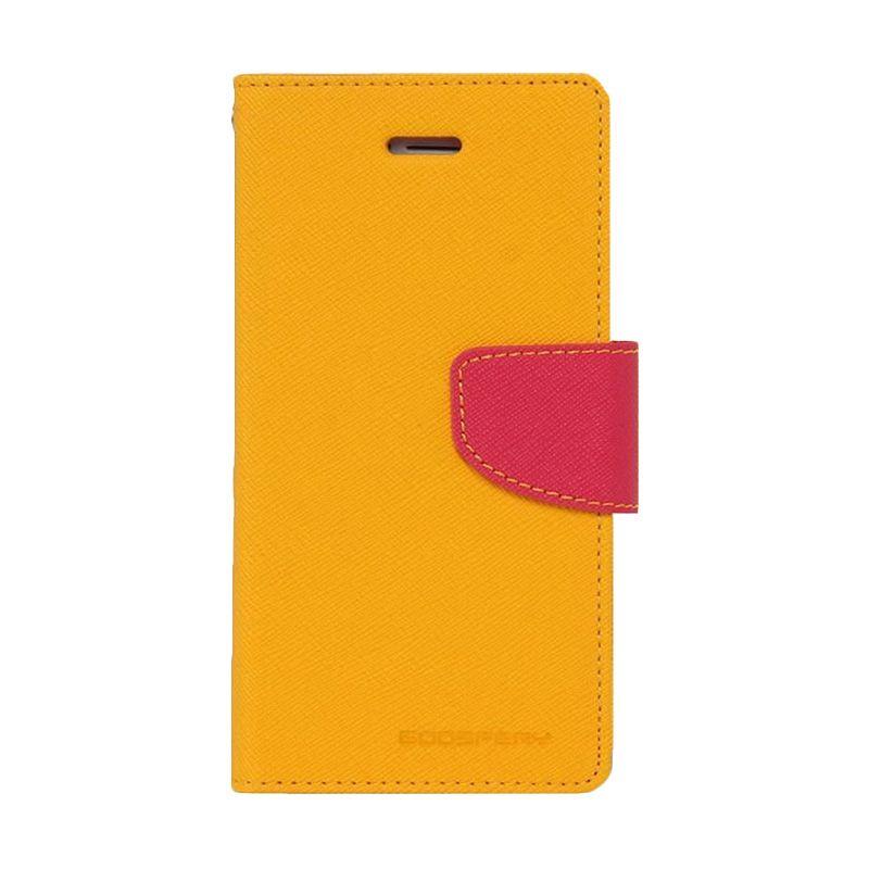 Mercury Goospery Fancy Diary Yellow Hotpink Casing for HTC One Mini