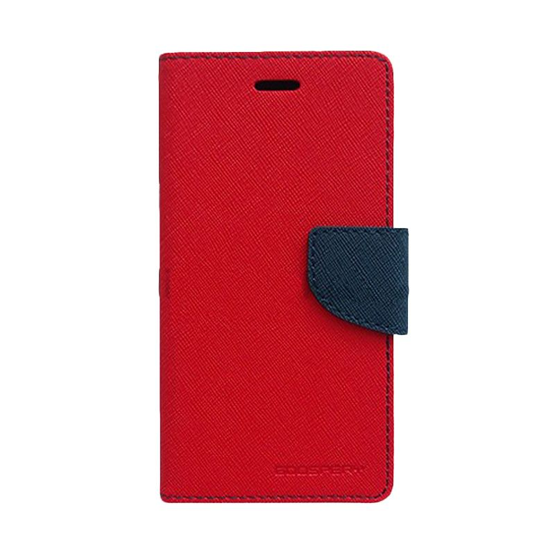 Mercury Goospery Fancy Diary Red Navy Flip Cover Casing for Galaxy Core Prime