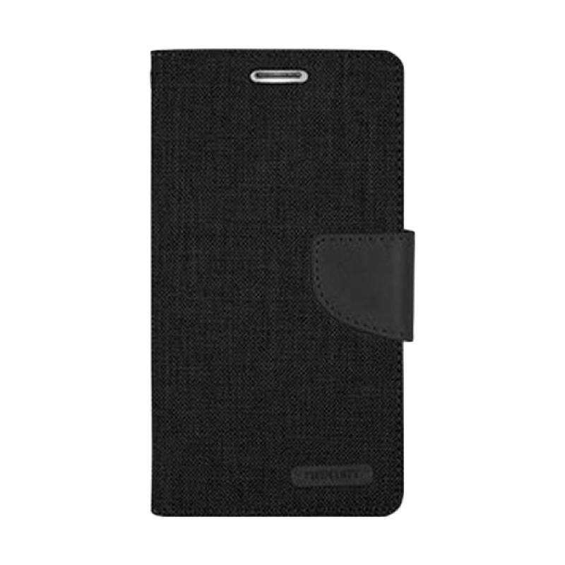 Mercury Goospery Canvas Diary Black Casing for Galaxy Note 4