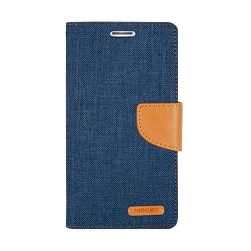 Mercury Goospery Canvas Diary Navy Casing for Galaxy Note 4