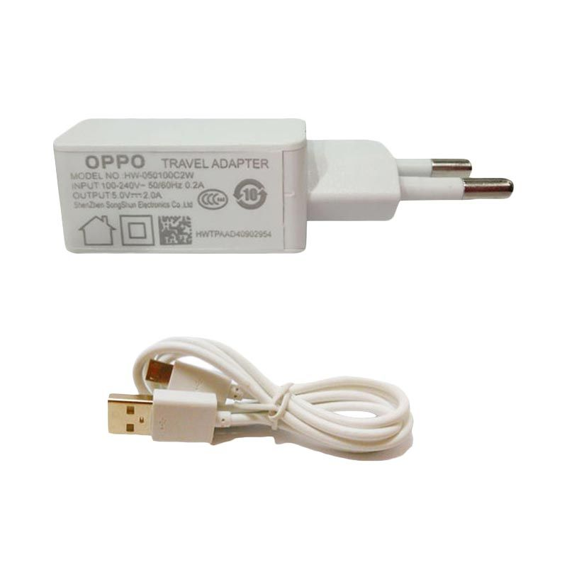 Oppo USB Putih Travel Charger dan USB Data Cable