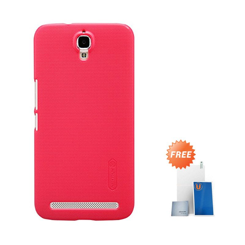 Nillkin Super Frosted Shield Merah Casing for Alcatel OneTouch Flash Plus TCL 3NM2M + Screen Protector