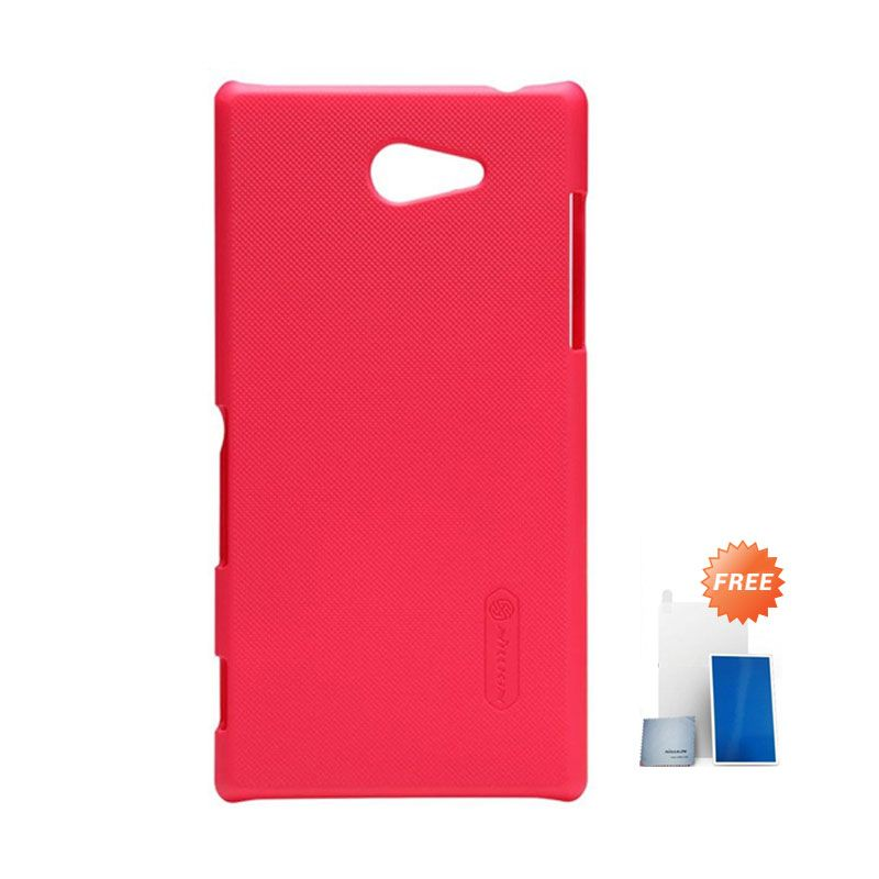 Nillkin Super Frosted Shield Red Casing for Sony Xperia M2 + Screen Protector