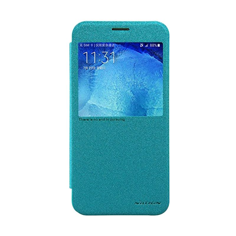Nilkin Sparkle Leather Case Blue Casing for Samsung Galaxy A8 A8000