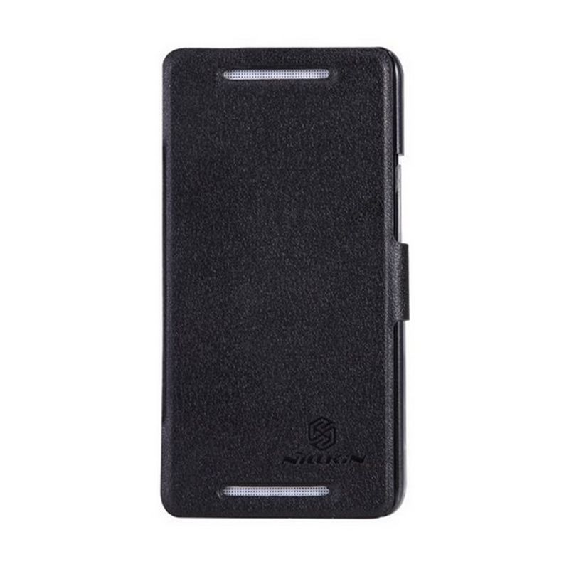 NILLKIN Fresh Leather Case Black Casing for HTC One Dual 802d or 802t
