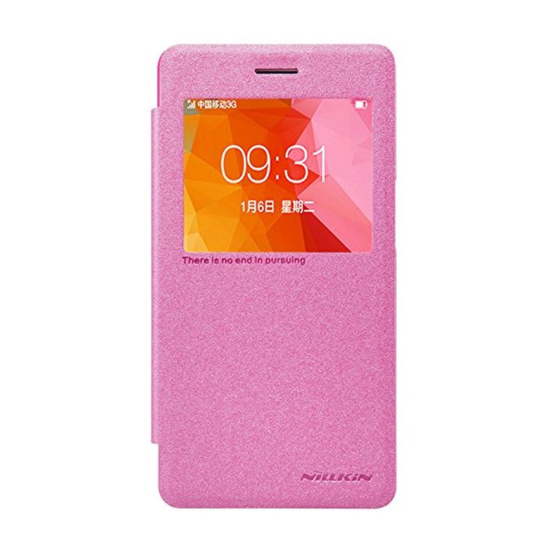 Nillkin Sparkle Leather Pink Casing for Oppo R7