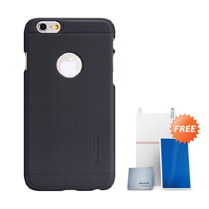 Nillkin Super Frosted Shield Hitam Casing for iPhone 6 Plus + Screen Protector