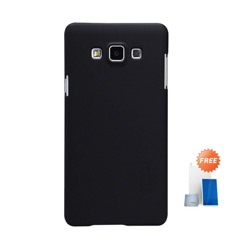 Nillkin Super Frosted Shield Black Casing for Samsung Galaxy A7 + Screen Protector