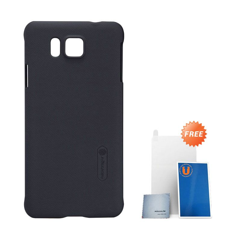 Nillkin Super Frosted Shield Black Casing for Samsung Galaxy Alpha + Screen Protector