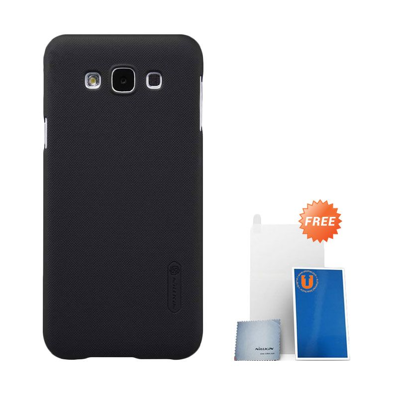 Nillkin Super Frosted Shield Black Casing for Samsung Galaxy E7 + Screen Protector