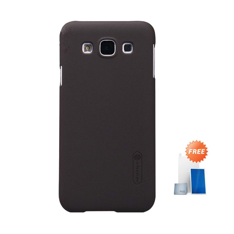 Nillkin Super Frosted Shield Brown Casing for Samsung Galaxy E5 E500 + Screen Protector