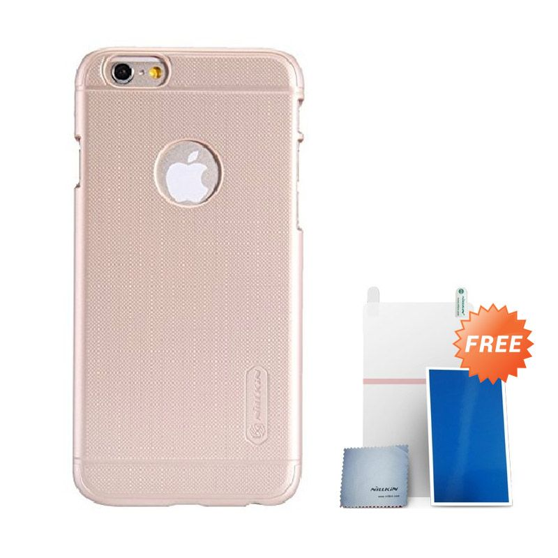 Nillkin Super Frosted Shield Gold Casing for iPhone 6 + Screen Protector