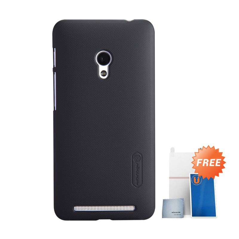 Nillkin Super Frosted Shield Hitam Casing for Asus Zenfone 6 + Screen Protector