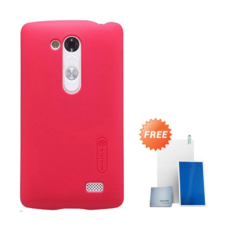 Nillkin Super Frosted Shield Red Casing for LG L Fino D295 + Screen Protector
