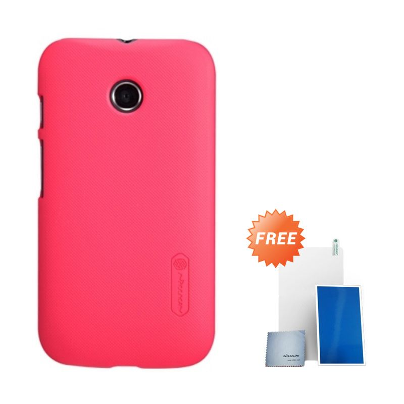 Nillkin Super Frosted Shield Red Casing for Motorola Moto E + Screen Protector