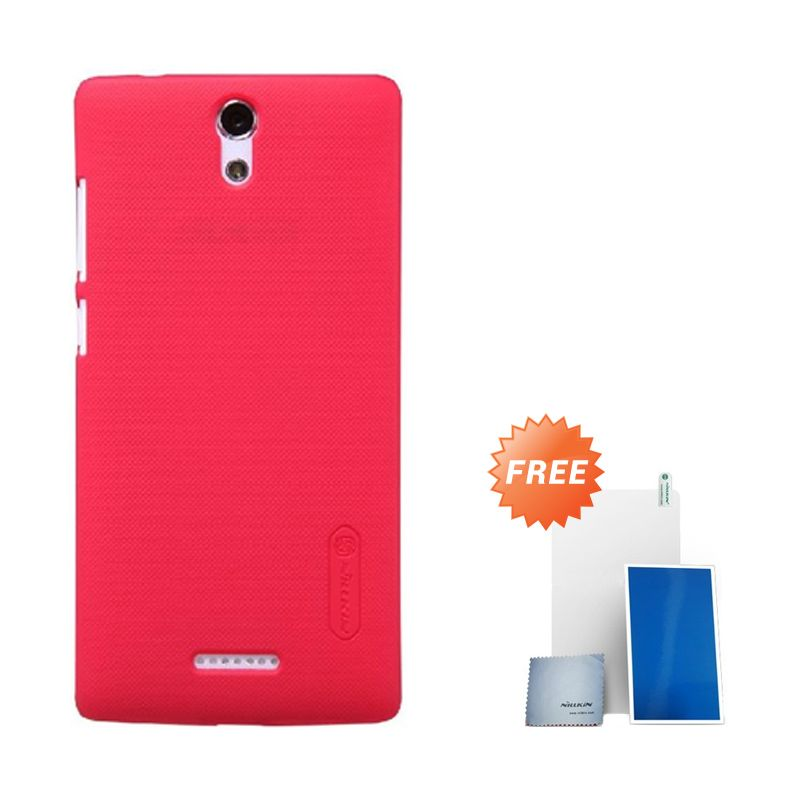 Nillkin Super Frosted Shield Red Casing for Oppo Mirror 3 + Screen Protector