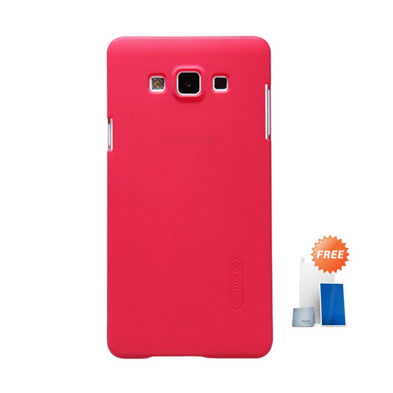 Nillkin Super Frosted Shield Red Casing for Samsung Galaxy A7 + Screen Protector