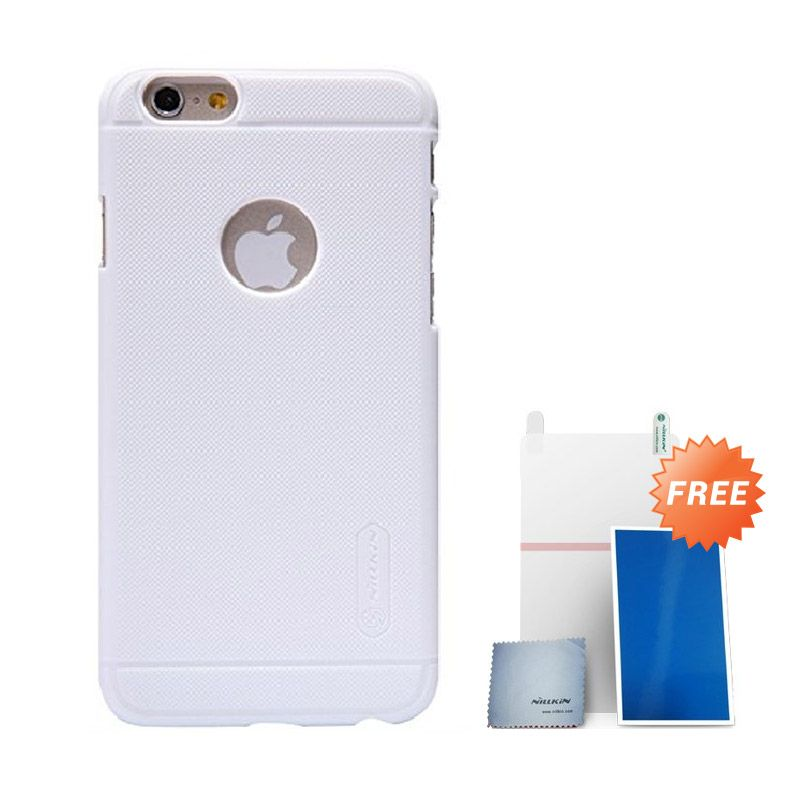 Nillkin Super Frosted Shield Putih Casing for iPhone 6 + Screen Protector