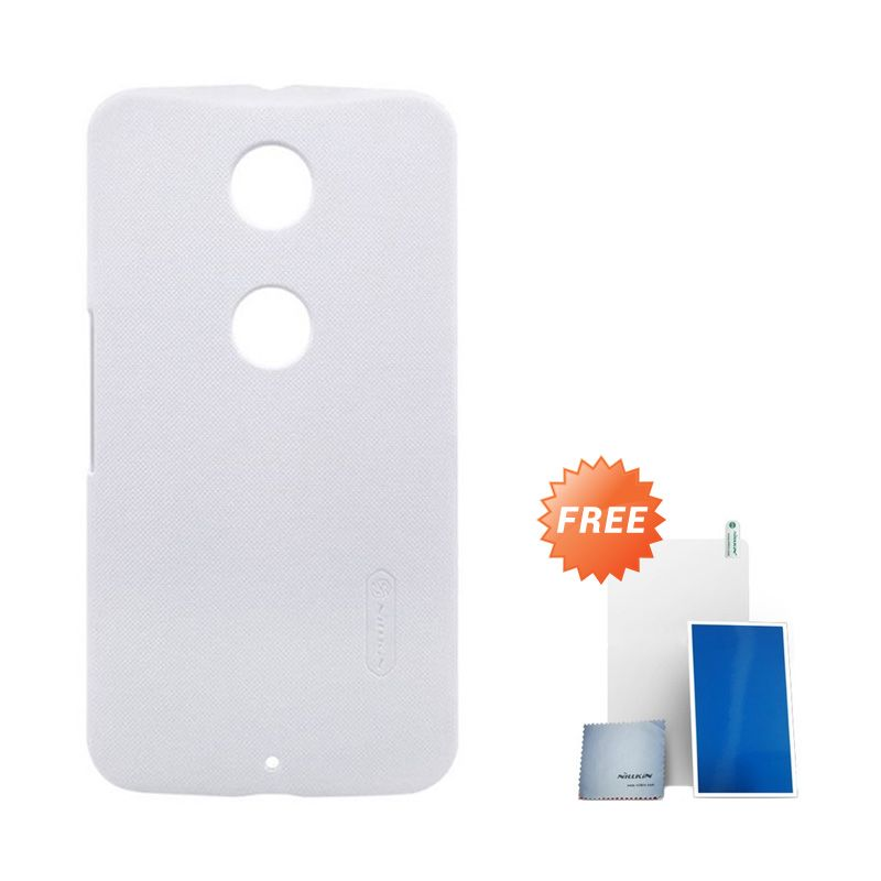 NILLKIN Super Frosted Shield White Casing for Motorola Moto Nexus 6 + Screen Protector