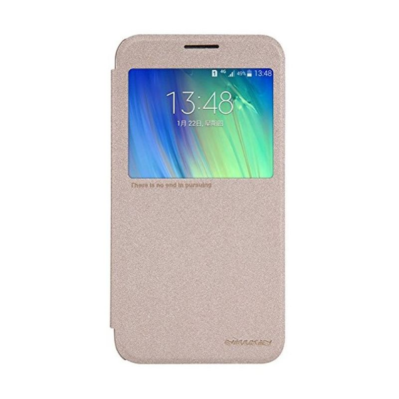 NILLKIN Sparkle Gold Leather Casing for Samsung Galaxy E7 E700