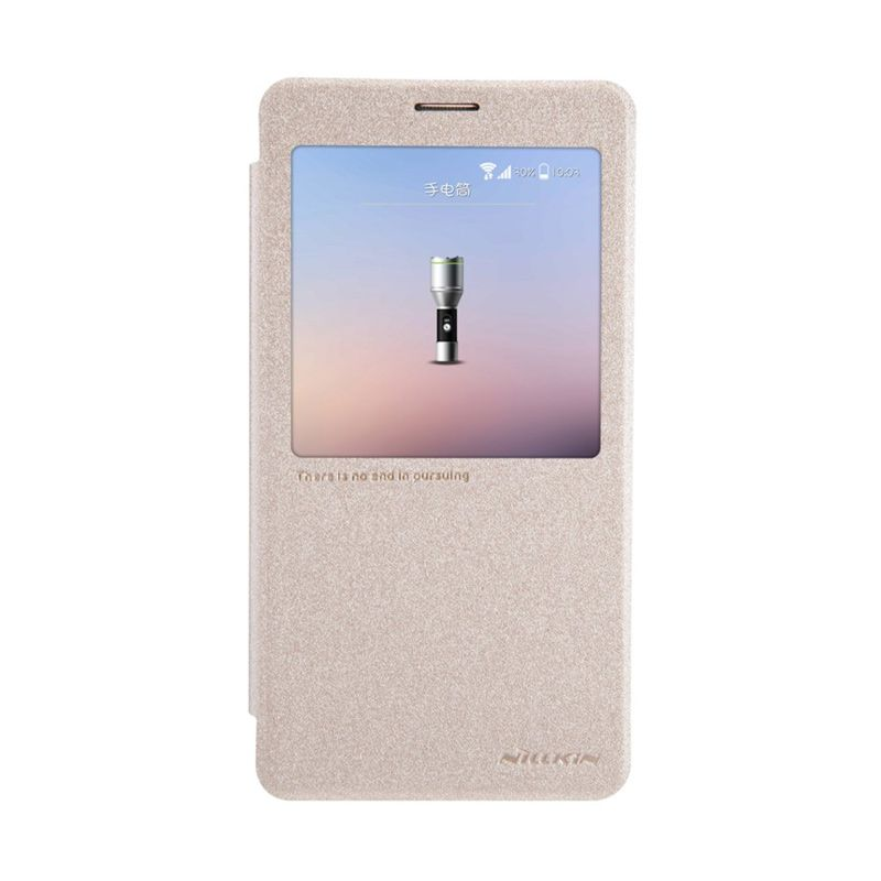 Nillkin Sparkle Leather Gold Casing for Samsung Galaxy Note 4 N9100