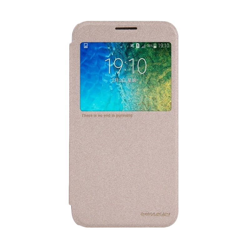 NILLKIN Sparkle Leather Gold Casing for Samsung Galaxy E5