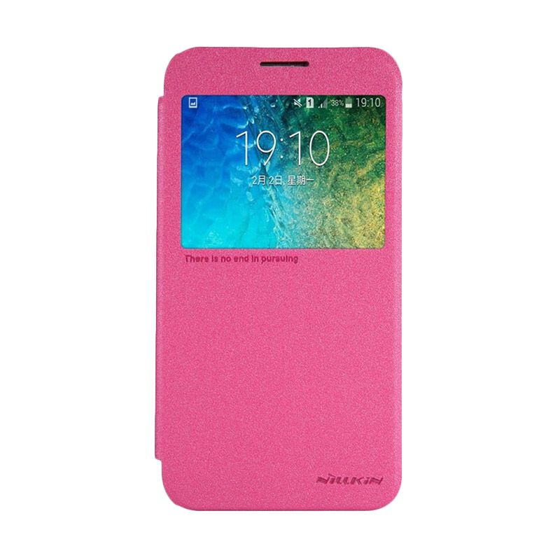 NILLKIN Sparkle Leather Pink Casing for Samsung Galaxy E5