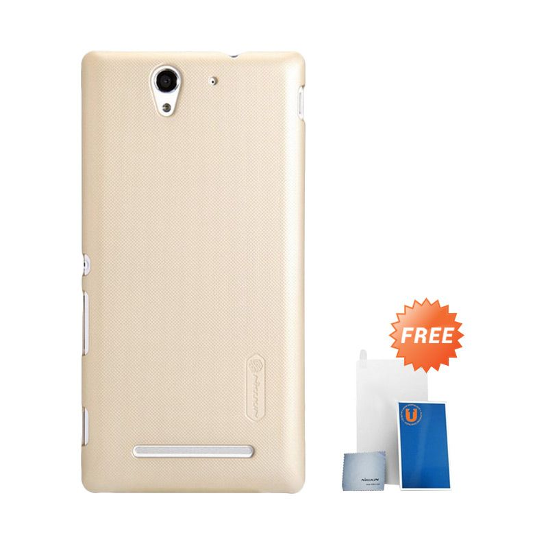 Nillkin Super Frosted Shield Gold Casing for Sony Xperia C3 + Screen Protector