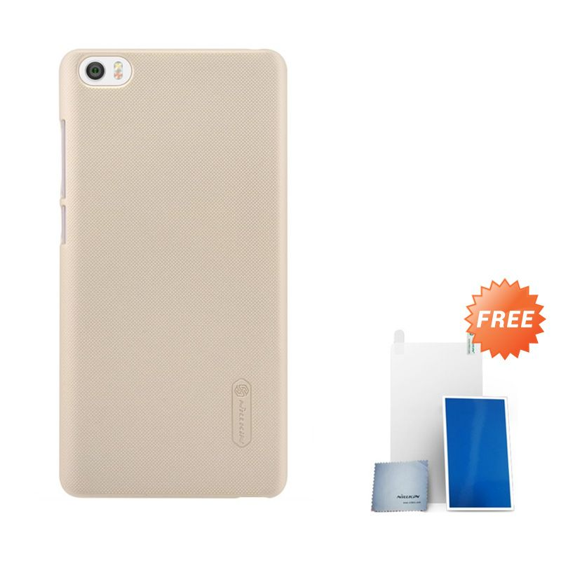Nillkin Super Frosted Shield Gold Casing for Xiaomi Note or Minote + Screen Protector