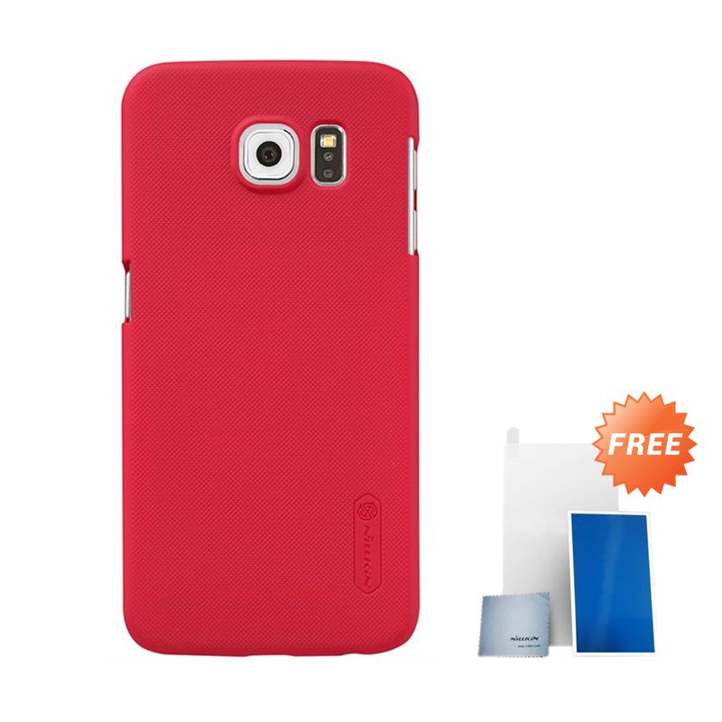 Nillkin Super Frosted Shield Light Red Casing for Samsung Galaxy S6 + Screen Protector