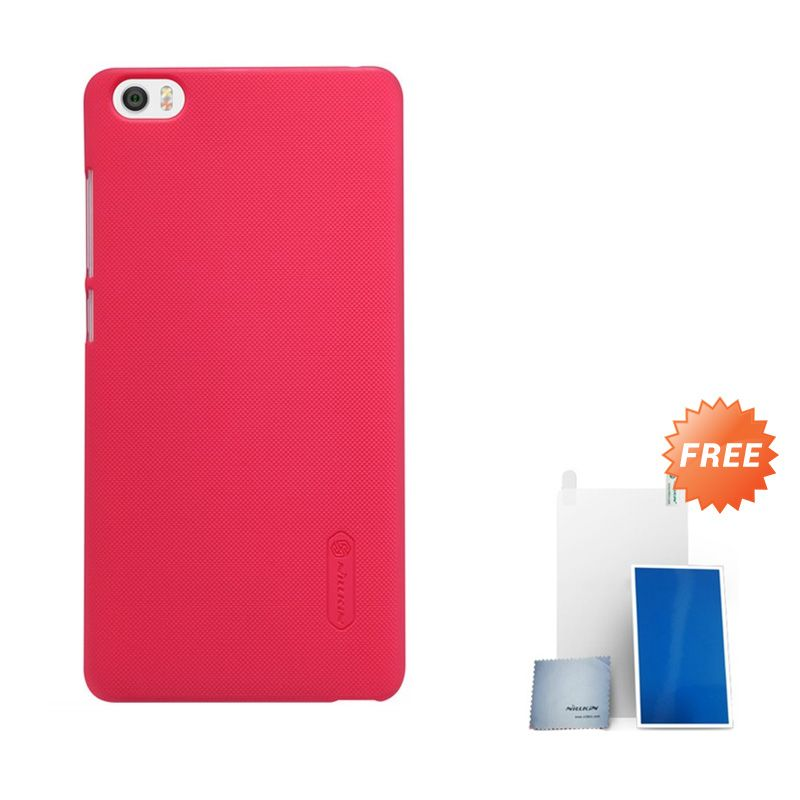 Nillkin Super Frosted Shield Red Casing for Xiaomi Note or Minote + Screen Protector