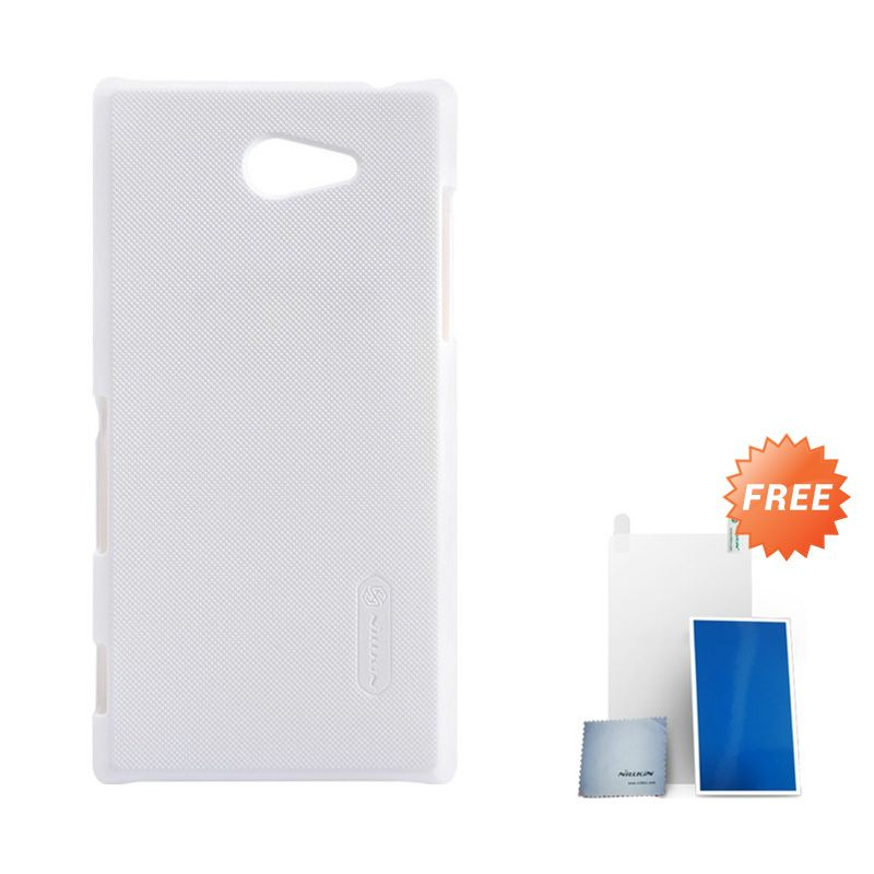 Nillkin Super Frosted Shield White Casing for Sony Xperia M2 + Screen Protector