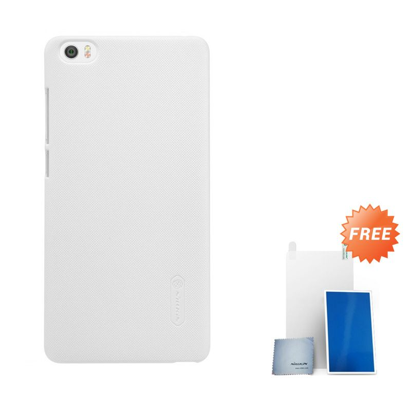 Nillkin Super Frosted Shield White Casing for Xiaomi Note or Minote + Screen Protector