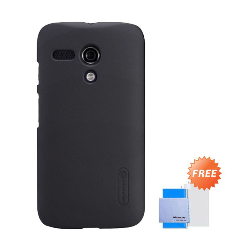 Nillkin Super Frosted Shield Hitam Casing for Moto G + Screen Protector