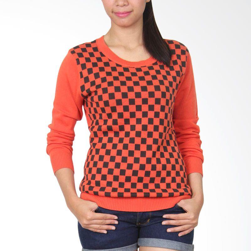 Gaia Chees 112 Orange Hitam Sweater Wanita
