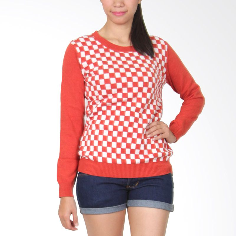 Gaia Chees 112 Orange Putih Sweater Wanita