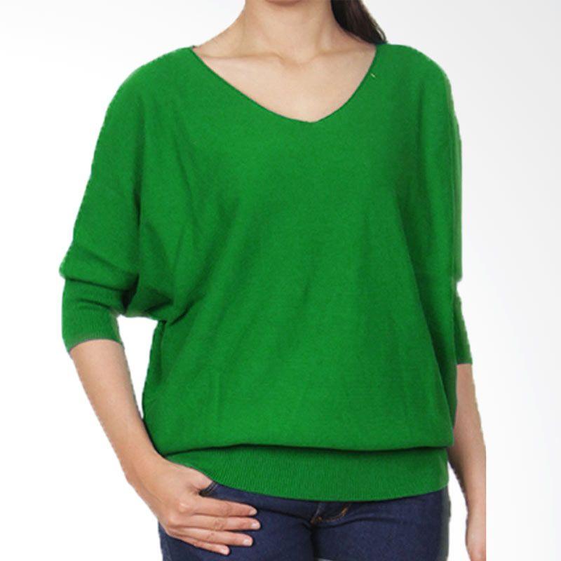 Gaia Plain Knit Blouse Hijau Atasan Wanita