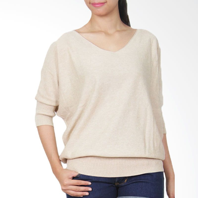 Gaia Plain Knit Blouse Krem Atasan Wanita