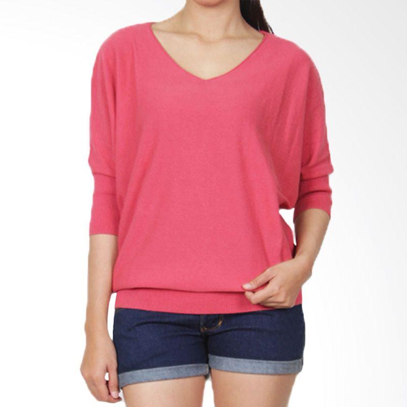 Gaia Plain Knit Blouse Pink Atasan Wanita