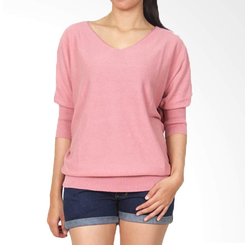 Gaia Plain Knit Salem Blouse Wanita