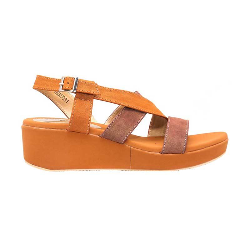 harga Garucci GRC 5031 Wedges Sandal - Brown Blibli.com